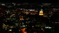 Aerial timelapse, San Antonio city center at night video