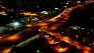Aerial timelapse, San Antonio, Texas expressways at night video