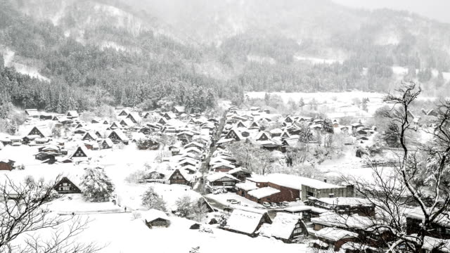 HD Aerial time-lapse: Shirakawago Gassho-Dukuri Gifu, Chubu World Heritage Japan video