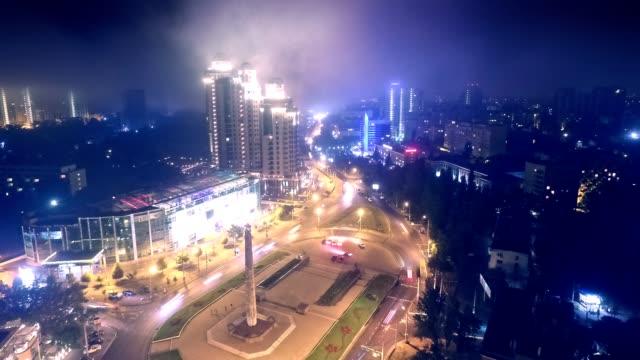 Aerial Timelapse video of foggy Square in Odessa Ukraine Arcadia video