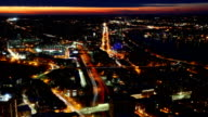 Aerial timelapse view of the Boston Skyline at dusk video