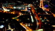 Aerial timelapse view of the Boston Skyline at night video
