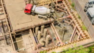 Aerial TL: Concrete in formwork  at underground video