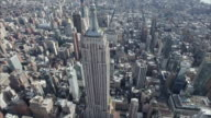 NYC Aerial Top to Front Shot Of Empire State Viewing Downtown video