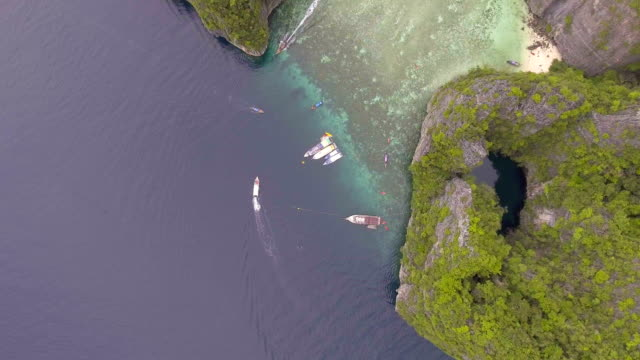 Aerial top view of Amazing Emerald Lagoon with Crystal-clear Water with drone video