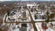 Aerial tour over old neighborhood with large colorful houses video