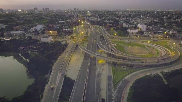 Aerial traffic Urban scene at evening video