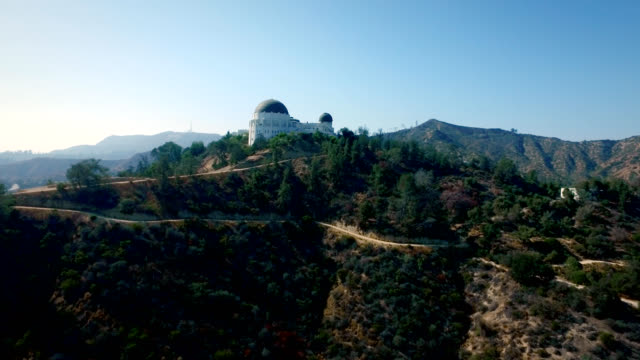 Aerial vertical track of the Griffith Observatory in Los Angeles California video