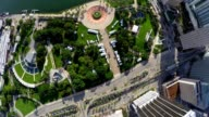 Aerial video bay front park downtown Miami video
