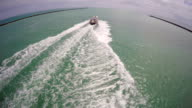 Aerial video boat chase video