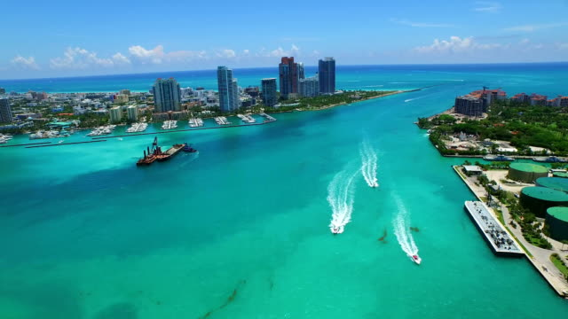 Aerial video Miami Beach Government Cut Inlet video