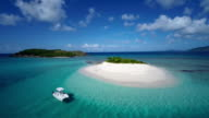 aerial video of a boat at Sandy Spit, BVI video