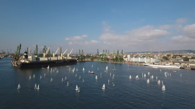 Aerial video of a cargo dock and harbor Varna, Bulgaria video