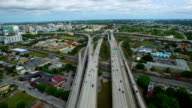 Aerial video of a highway interchange at Downtown Miami video