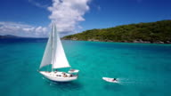 aerial video of a sailboat travelling through the Virgin Islands video
