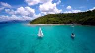 aerial video of a sloop sailing in the Virgin Islands video
