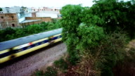Aerial video of a train on railroad track video