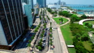 Aerial video of Bayside Miami 4k video