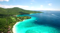 aerial video of beaches at Caneel Bay, St.John, USVI video