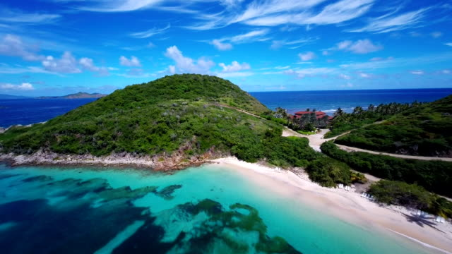 aerial video of Deadman's Bay, Peter Island, British Virgin Islands video
