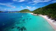 aerial video of Deadman's Bay, Peter Island, British Virgin Islands video