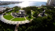 Aerial video of Downtown Miami and Bayfront Park video
