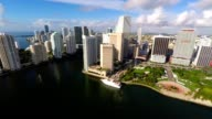 Aerial video of Downtown Miami and Brickell Key video
