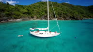 aerial video of family on a sailboat in St.John, USVI video