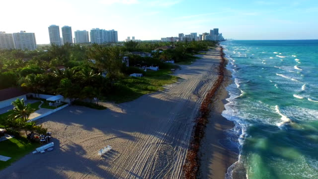 Aerial video of Golden Beach houses on the ocean video