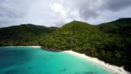 aerial video of Hawksnest Bay, St.John, US Virgin Islands video