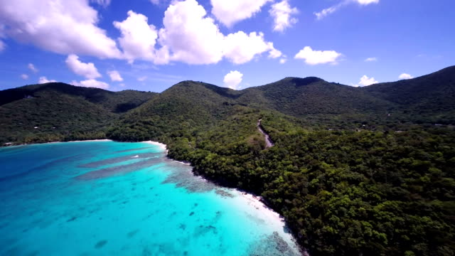 aerial video of Hawsknest Bay Beach, St.John, USVI video