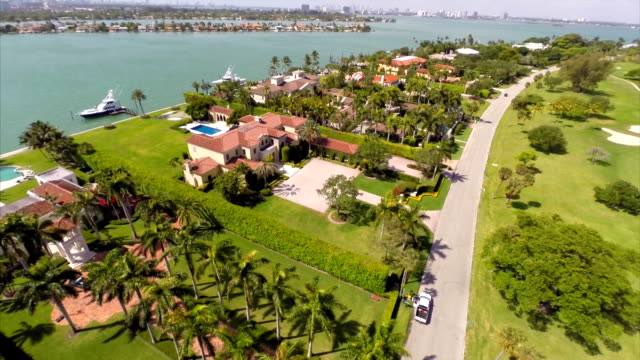 Aerial video of homes at Indian Creek Miami Beach video