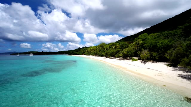aerial video of Honeymoon Bay, St.John, US Virgin Islands video