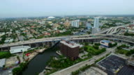 Aerial video of I95 and the Miami River video