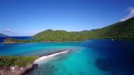 aerial video of Leinster Bay, St.John, US Virgin Islands video