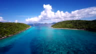 aerial video of passage between Congo and  Lovango Cay, USVI video