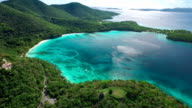 aerial video of Peace Hill and Hawksnest Bay, St.John, USVI video