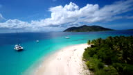 aerial video of Sandy Cay, British Virgin Islands video