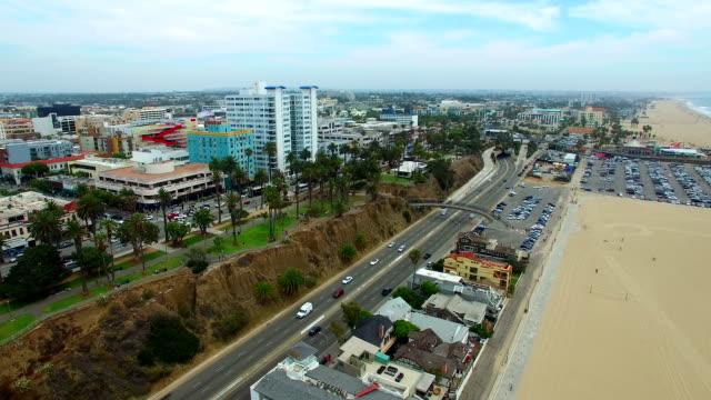 Aerial video of Santa Monica Beach video