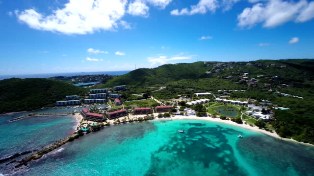 aerial video of Sapphire Bay, St.Thomas, US Virgin Islands video