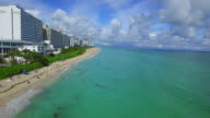 Aerial video of shores of Miami Beach video