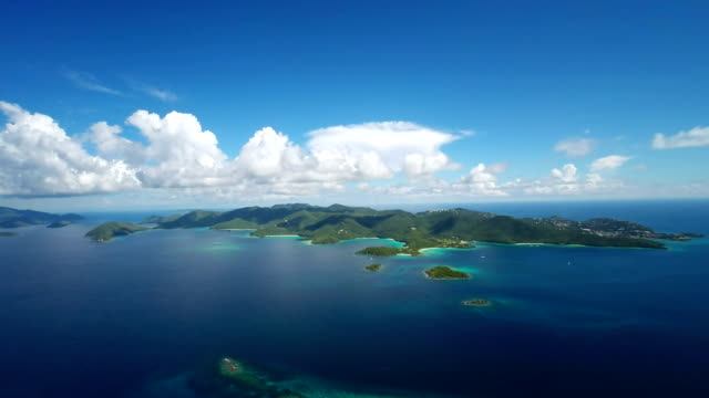 aerial video of St.John above Lovango Cay, US Virgin Islands video