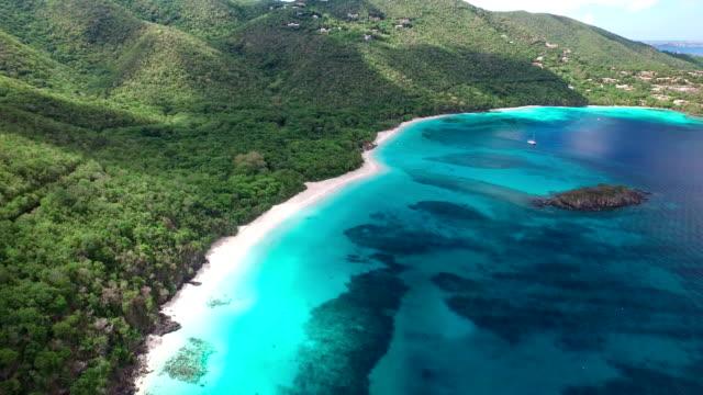 aerial video of the beach at Cinnamon Bay, St.John, USVI video