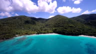 aerial video of the beaches at Hawsknest Bay, St.John, USVI video