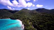 aerial video of the beaches at Hawsknest Bay, St.John, USVI video