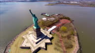 Aerial video of the Statue of Liberty video
