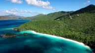 aerial video of Trunk Bay Beach, St.John, US Virgin Islands video
