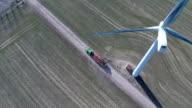 Aerial video of wind generator / wind turbine video