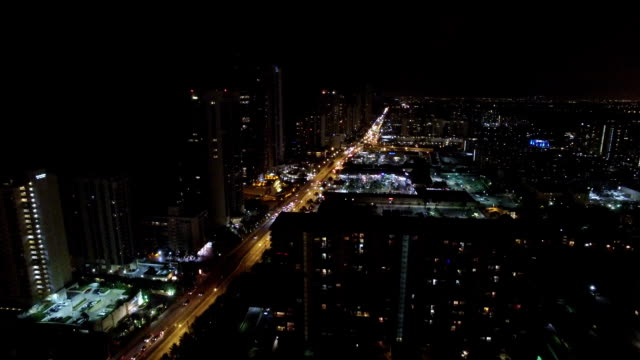 Aerial video Sunny Isles Beach at night video