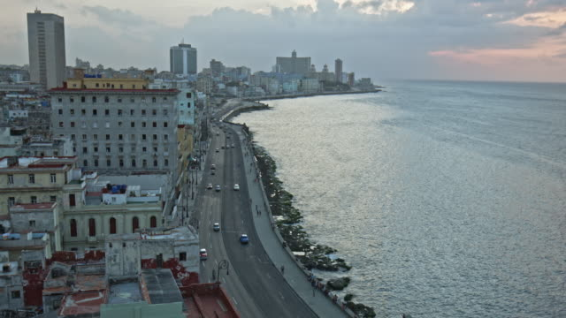 Aerial video view of Malecon in Havana, Cuba video